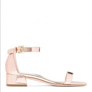 Stuart weitzman rose gold nudist low sandals
